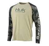 HUK Men's Double Header Vented Long Sleeve Shirt Sage