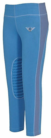 TuffRider Kid's Ventilated Schooling Tights, French Blue/Cornflower Blue, Small