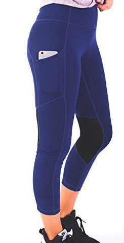 Women's Premium Workout Leggings with Breathable Mesh Vent Panels Navy Size 4