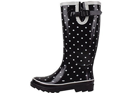 New Sunville Brand Women's Rubber Rain Boots (Black/Grey Polka Dot)
