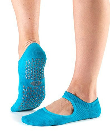 Tavi Noir Chey Mary Jane Non-Slip Grip Socks for Barre, Pilates, Studio, and Yoga (Ocean) Small