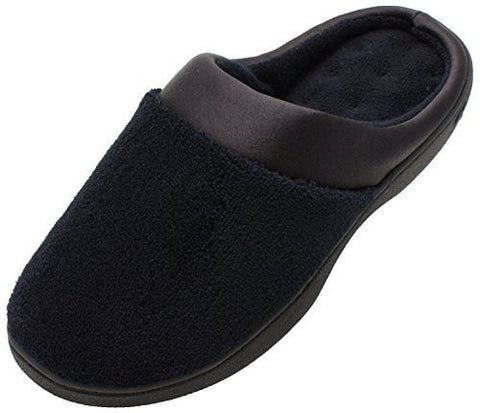 On Your Feet Women's Micro Terry PillowStep Satin Cuff Clog Black Small 6.5-7