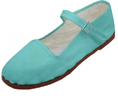 Womens Cotton Mary Jane Shoes Ballerina Ballet Flats Shoes (Lt Blue 114)