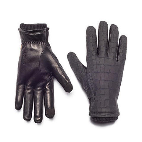 HONNS Men's Logan Croc Gloves (Premium European Lambskin Palm, Plush Lining, Touchscreen Compatible) Noir XL