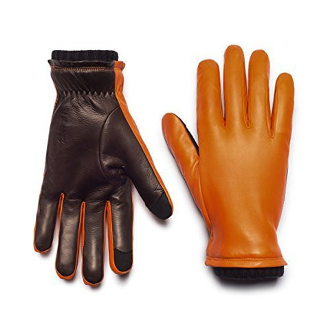 HONNS Men's Oliver Gloves (Premium European Lambskin Palm, Plush Lining, Touchscreen Compatible) Blaze/Mocha XL