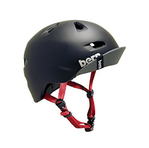 Bern Unlimited Men's Brentwood Summer Helmet with Flip Visor and Reflective Logos, Matte Black/Red/Reflective Silver, XX-Large/3X-Large