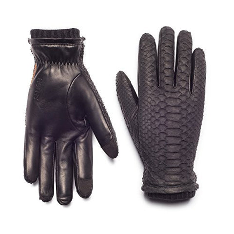 HONNS Women's MaryJane Croc Gloves (Premium European Lambskin Palm, Plush Lining, Touchscreen Compatible) Noir S