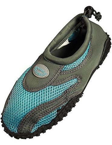 Womens Water Shoes Aqua Socks Pool Beach ,Yoga,Dance and Exercise (10, Grey/Blue 1185L)