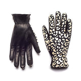 HONNS Women's MaryJane Leopard Gloves (Premium European Lambskin Palm, Plush Lining, Touchscreen Compatible) White Gold S