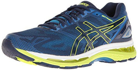 ASICS Men's Gel-Nimbus 19 Running Shoe, Indigo Blue/Safety Yellow/Electric Blue, 9.5 M US