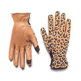 HONNS Women's MaryJane Leopard Gloves (Premium European Lambskin Palm, Plush Lining, Touchscreen Compatible) Camel S