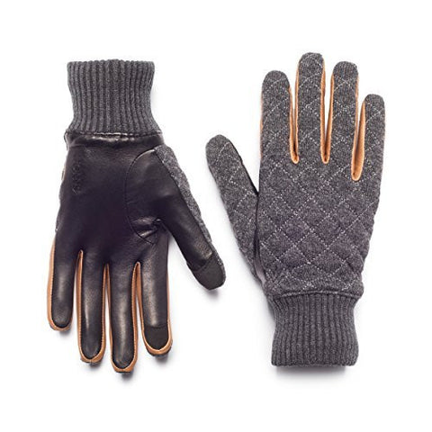 HONNS Men's Parker Gloves (Premium European Lambskin Palm, Plush Lining, Touchscreen Compatible) Grey XL