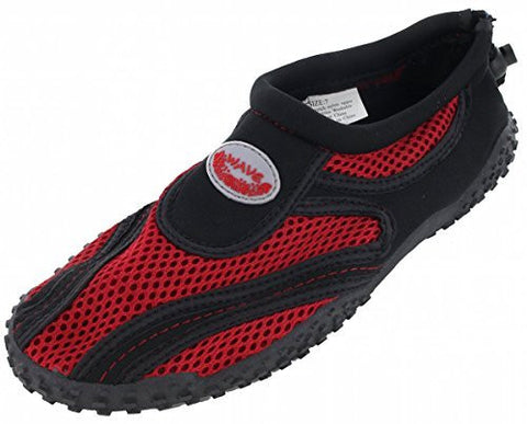 Easy USA Womens Aqua Wave Water Shoes (10, Black/Red 1185L)