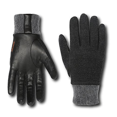HONNS Men's Connor Gloves (Performance Italian Wool, European Lambskin Palm, Touchscreen Compatible) Noir XL