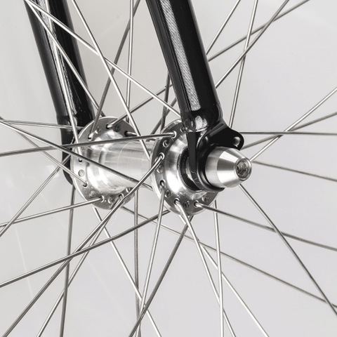 Bike wheel protected against theft with the Hexlox System