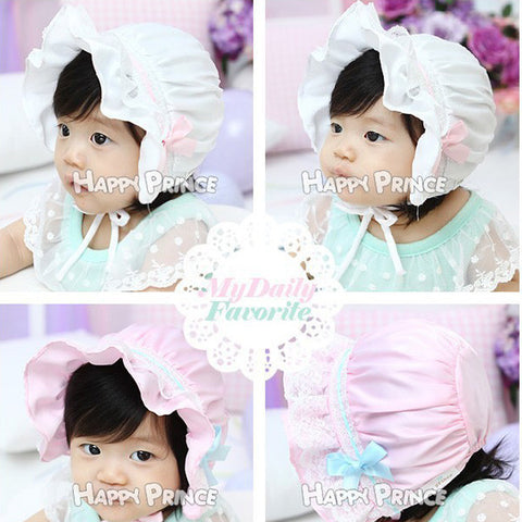 Baby Lace Bonnet Hat Cap christening, baptism, wedding Fits 0 - 8 months