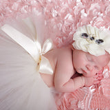Tutu Dress and Headband White Set Handmade Outfit (0 to 12 months)