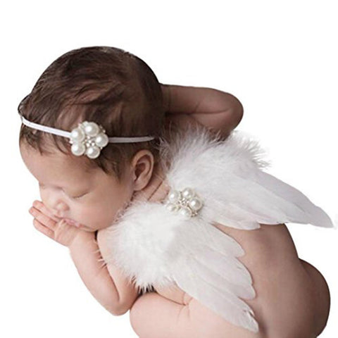 Wings and Headband Angel White Baby Photography Prop Newborn Infant
