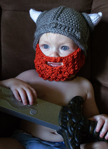 Baby Viking Gray and Red Beard Hat (fits 4 to 12 month)