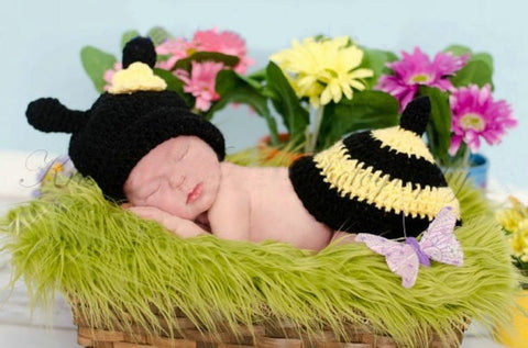 Bee Set Black Yellow Handmade Photography Prop (0 to 6 months)