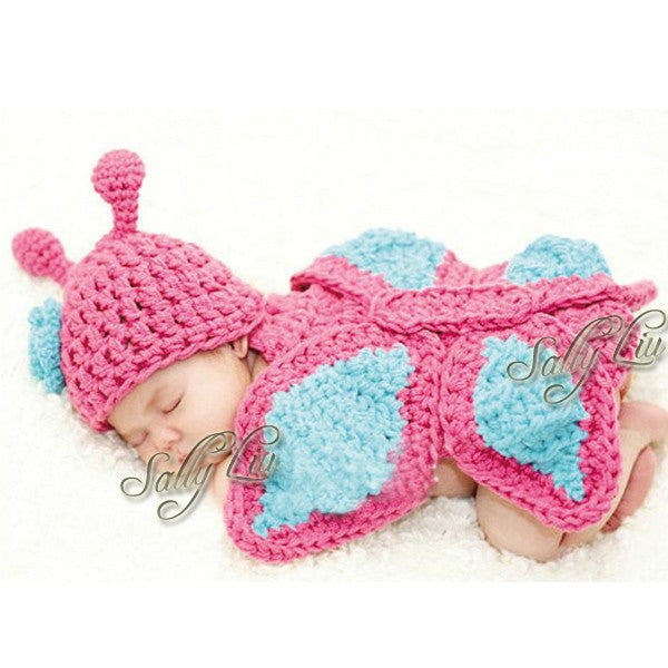 Butterfly Set Pink Blue Handmade Baby Photography Prop (0 to 6 months)