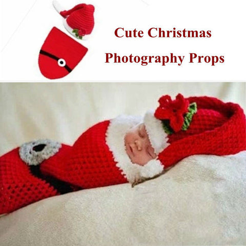 Santa Hat Stocking Handmade Baby Photography Prop (0 to 6 months)