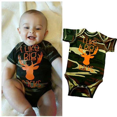 Baby Deer Onesie Romper Camo and Orange (fits 3-6 months)