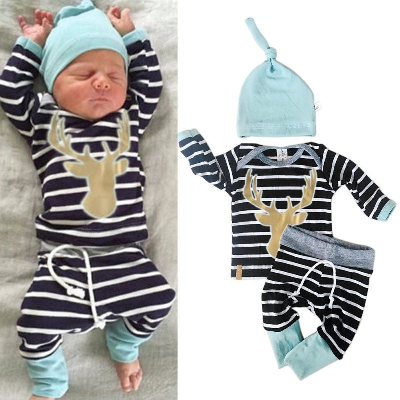 Baby deer 3 piece set blue black white 3 and 6 month size