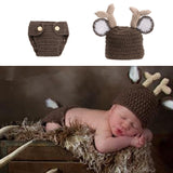 Baby Deer Diaper Set Outfit Beige and Brown (fits 0 to 6 months)