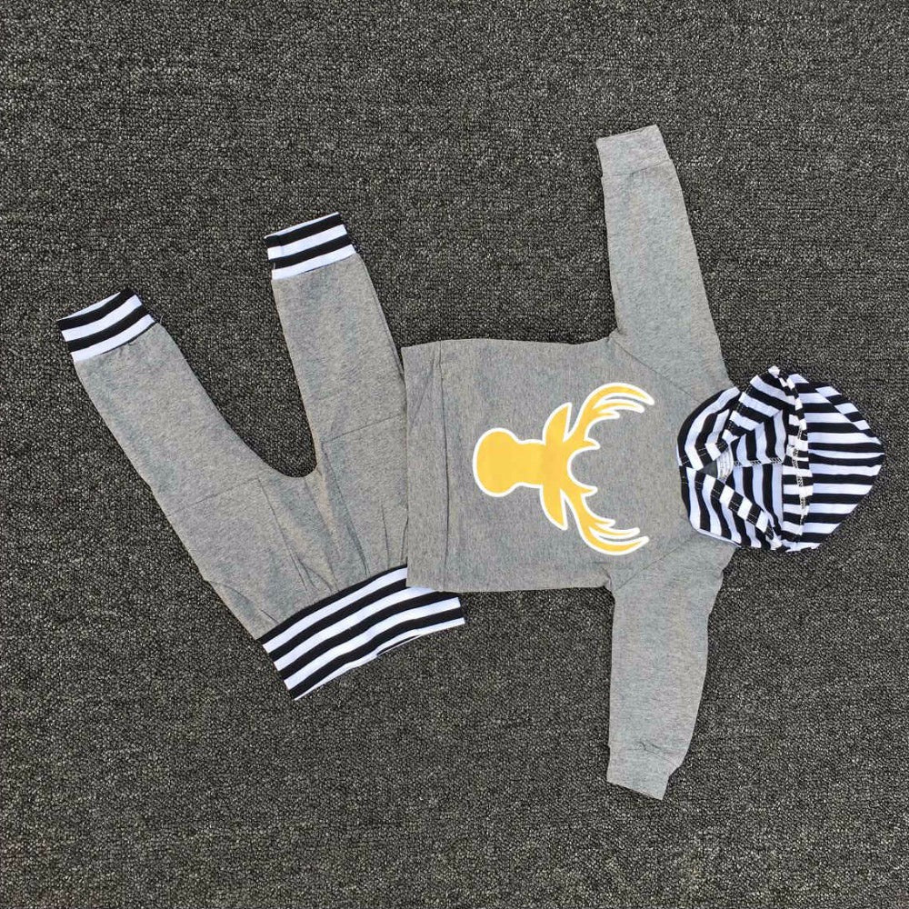 Deer Hoodie striped outfit set (0 to 3 months)
