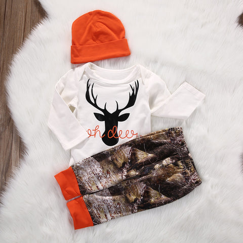 Baby deer set 3 piece orange white and camo 3 and 6 month sizes