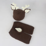 Deer Set Brown Cream Handmade Outfit (0 to 6 months)