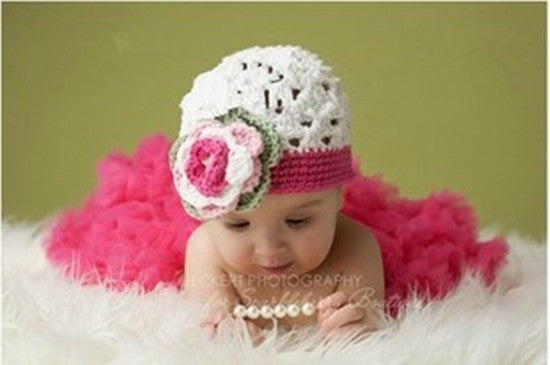 Pink and White Baby skirt and hat Handmade Set (0 to 6 months)