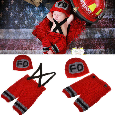 Fireman Set Red Black Grey Handmade Outfit (0 to 6 months)