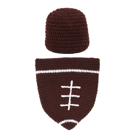 Football Set Brown White Handmade Baby Photography Prop (0 to 6 months)