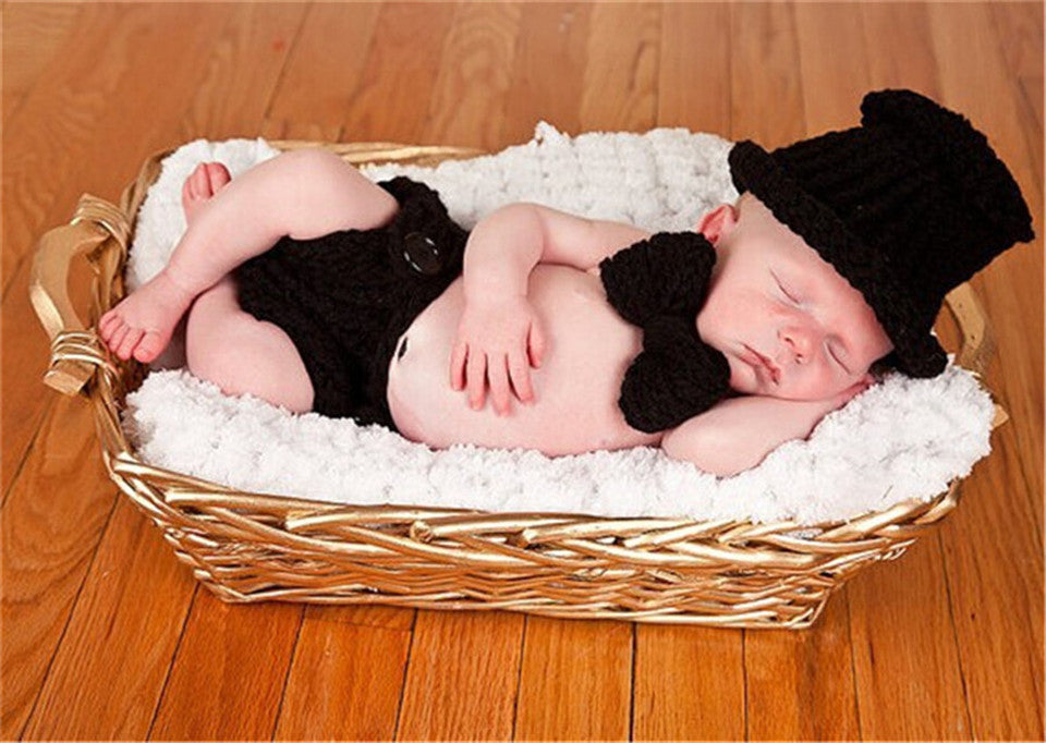 Gentleman Black Handmade Baby Diaper Set (0 to 6 months)