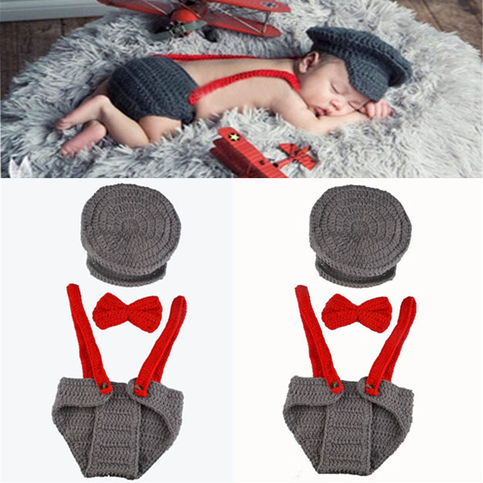 Hat Cap Tie Suspenders Gray Red Handmade Diaper Set (0 to 6 months)