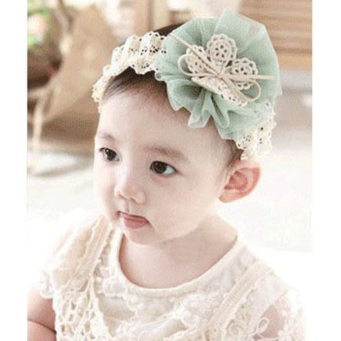 Light Green Cream Lace Headband (0 to 12 months)