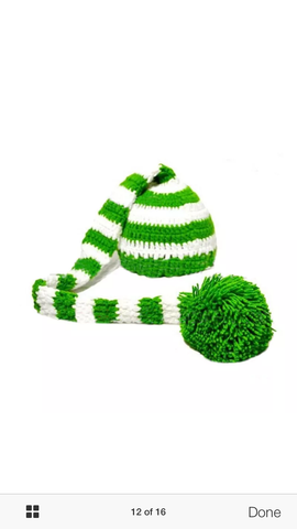Green and White Stocking Hat Cap Handmade (0 to 12 months)