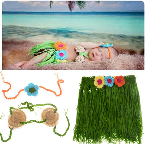 Hula Skirt Top Headband Green Tan  Handmade Outfit (0 to 6 months)
