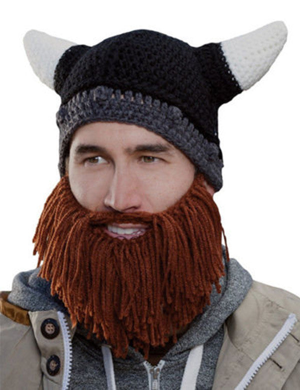 Mens Viking Gray and Brown Beard Hat