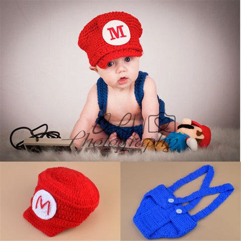 Mario Gaming Red Blue Handmade Baby Diaper Set (0 to 6 months)