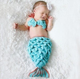 Mermaid Set Light Blue Handmade Baby Photography Prop (0 to 6 months)