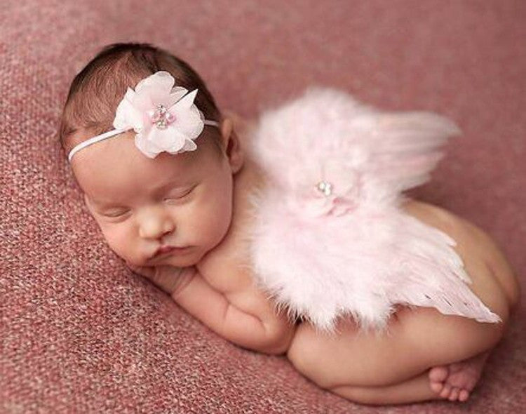 Wings Angel and Headband Pink Baby Photography Props Newborn Infant