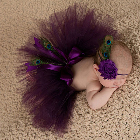 Tutu Purple Dress and Headband Set Handmade Outfit (0 to 12 months)