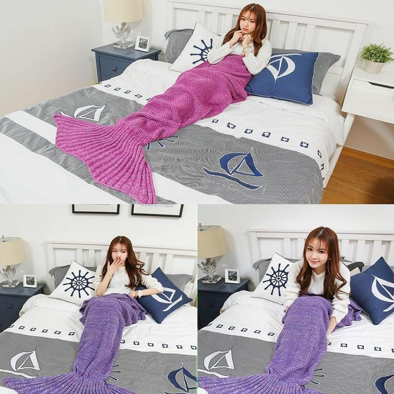 Girls dark pink mermaid tail crochet blanket fits age 2-12
