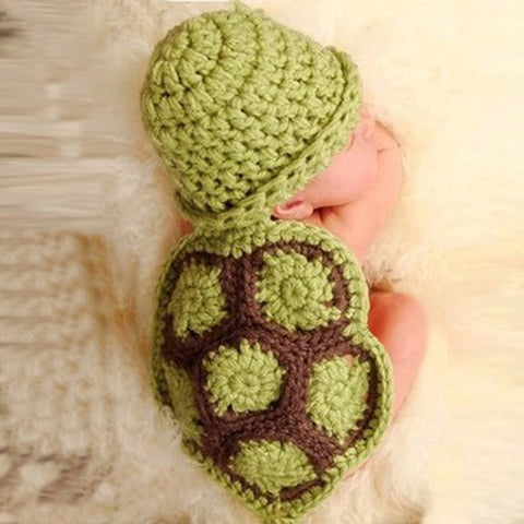Turtle Green Brown Handmade Set Baby Photography Prop (0 to 6 months)