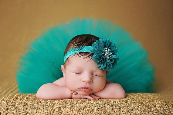 Tutu Blue Dress Headband Set Handmade Outfit (0 to 12 months)