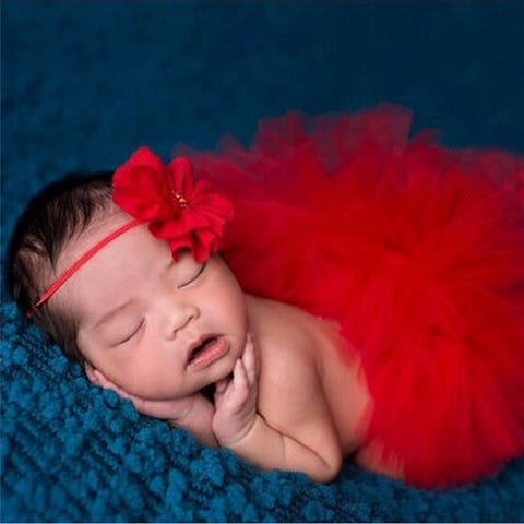 Tutu Red Dress and Headband Set Handmade Outfit (0 to 12 months)