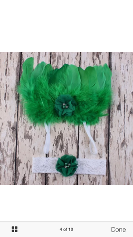 Wings and Headband Angel green Baby Photography Prop Newborn Infant